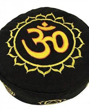 Meditatiekussen goud/zwart 7 chakra's geborduurd - Katoen - Boekweit - 33x17 - Zwart - Goud