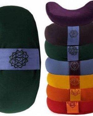 Meditatiekussen groen 4chakra halve maan - 33x13 - Boekweit - Katoen - 1300 - Groen