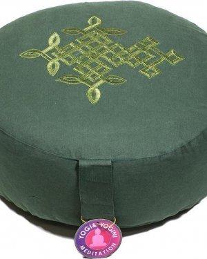 Meditatiekussen groen levensboom geborduurd - Katoen - Boekweit - 33x17 - Groen