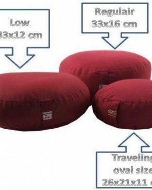 Meditatiekussen rood kind of reis - 26x21x11 - 1100 - Boekweit - Katoen - Rood