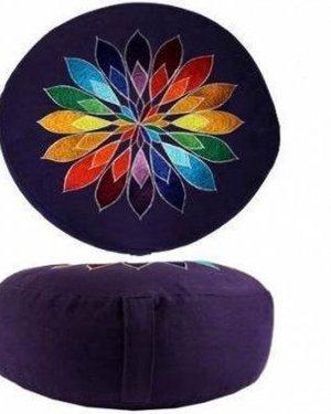 Meditatiekussen violet bloem geborduurd - Katoen - Boekweit - 33x17 - Violet - Meerkleurig
