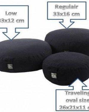 Meditatiekussen zwart kind of reis - 26x21x11 - 1100 - Boekweit - Katoen - Zwart