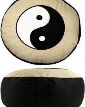 Meditatiekussen zwart/wit Yin Yang geborduurd - Katoen - Boekweit - 33x17 - Zwart - Wit