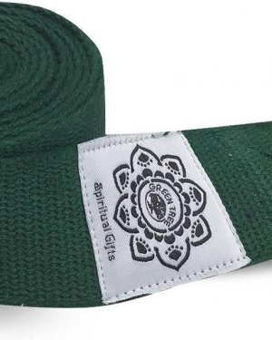 Green Cotton Yoga 8 ft. strap with wrapped 1.5'' D ring